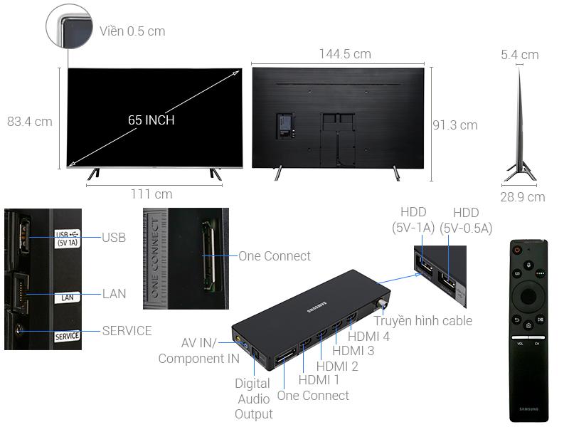 Thông số kỹ thuật Smart Tivi Samsung 65 inch UA65MU7000