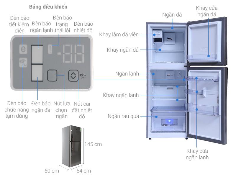 Thông số kỹ thuật Tủ lạnh Beko 230 lít RDNT230I55VZX