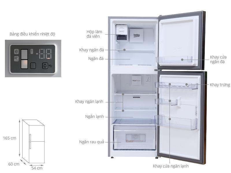 Thông số kỹ thuật Tủ lạnh Beko 270 lít RDNT270I50VZX