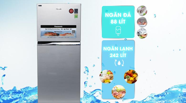 Dung tích 363 lít - Tủ lạnh Panasonic Inverter 363 lít NR-BD418VSVN