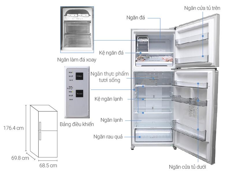 Thông số kỹ thuật Tủ lạnh Panasonic Inverter 405 lít NR-BD468VSVN