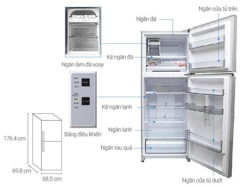 Thông số kỹ thuật Tủ lạnh Panasonic 405 lít NR-BD468VSVN