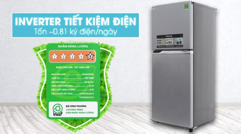 Tiết kiệm điện tốt hơn với công nghệ Inverter - Tủ lạnh Panasonic 234 lít NR-BL267VSV1