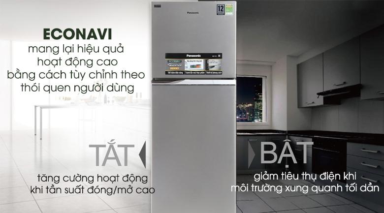Khả năng tự điều chỉnh nhiệt độ phù hợp với lượng thực phẩm nhờ cảm biến Econavi - Tủ lạnh Panasonic Inverter 303 lít NR-BL348PSVN