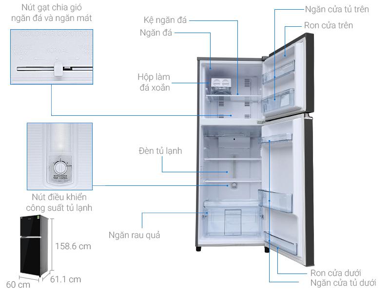 Thông số kỹ thuật Tủ lạnh Panasonic inverter 267 lít NR-BL308PKVN