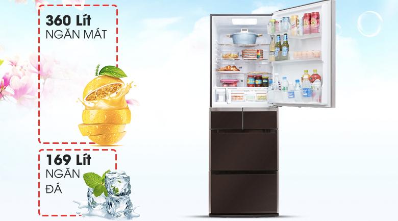 Dung tích sử dụng 529 lít - Tủ lạnh Hitachi Inverter 529 lít E5000V XT
