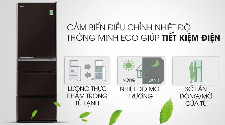 Cảm biến Eco thông minh - Tủ lạnh Hitachi Inverter 529 lít E5000V XT