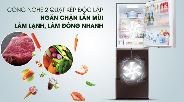 Hệ thống làm lạnh kép độc lập - Tủ lạnh Hitachi Inverter 529 lít E5000V XT