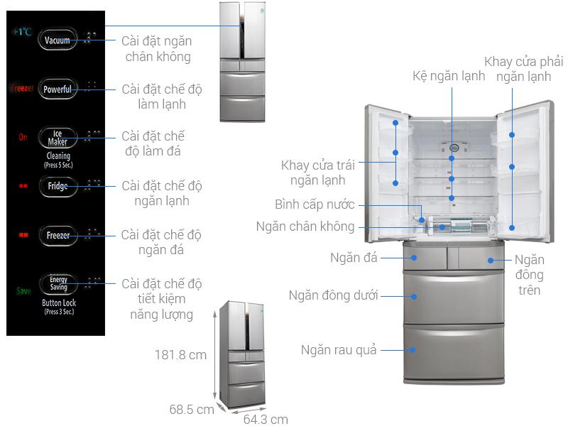 Thông số kỹ thuật Tủ lạnh Hitachi Inverter 497 lít SF48EMV SH