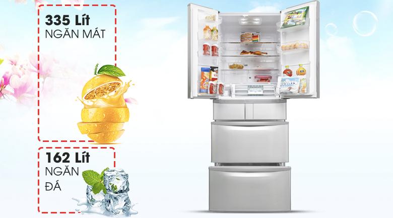 Dung tích 497 lít, thêm nhiều không gian lưu trữ thực phẩm - Tủ lạnh Hitachi Inverter 497 lít SF48EMV SH