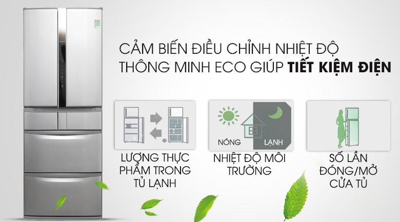 Cảm biến Eco tiết kiệm điện - Tủ lạnh Hitachi Inverter 497 lít SF48EMV SH