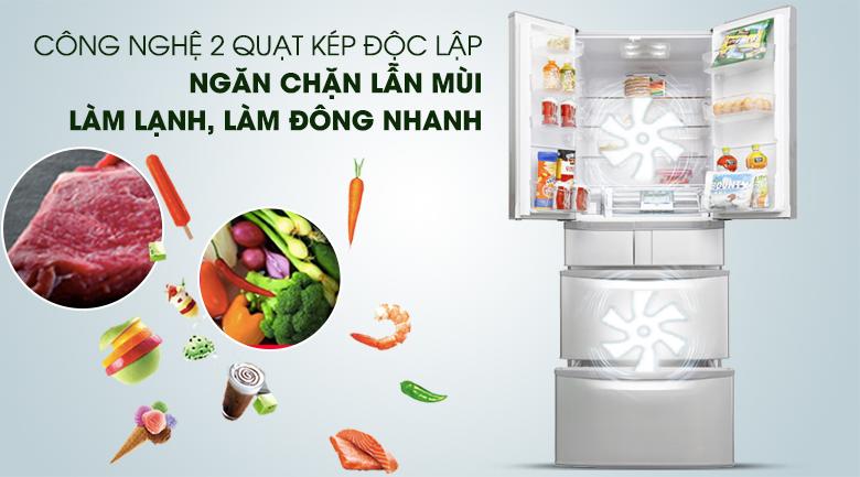 Hệ thống làm lạnh kép, làm lạnh nhanh, chống lẫn mùi - Tủ lạnh Hitachi Inverter 497 lít SF48EMV SH