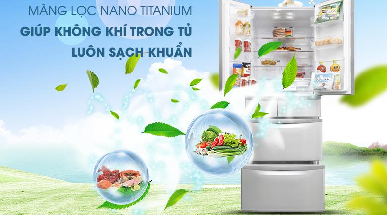Trang bị màng lọc Nano Titanium kháng khuẩn hiệu quả - Tủ lạnh Hitachi Inverter 497 lít SF48EMV SH