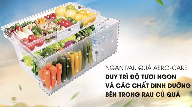 Bảo quản rau củ tốt hơn với ngăn chứa Aero - Care - Tủ lạnh Hitachi Inverter 497 lít SF48EMV SH