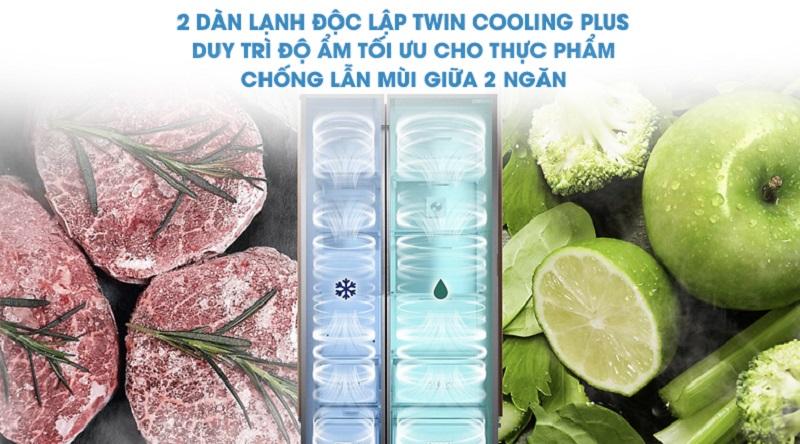 Hệ thống 2 dàn lạnh độc lập Twin Cooling Plus giúp làm lạnh nhanh hơn - Tủ lạnh Samsung Inverter 620 lít RS58K6667SL/SV