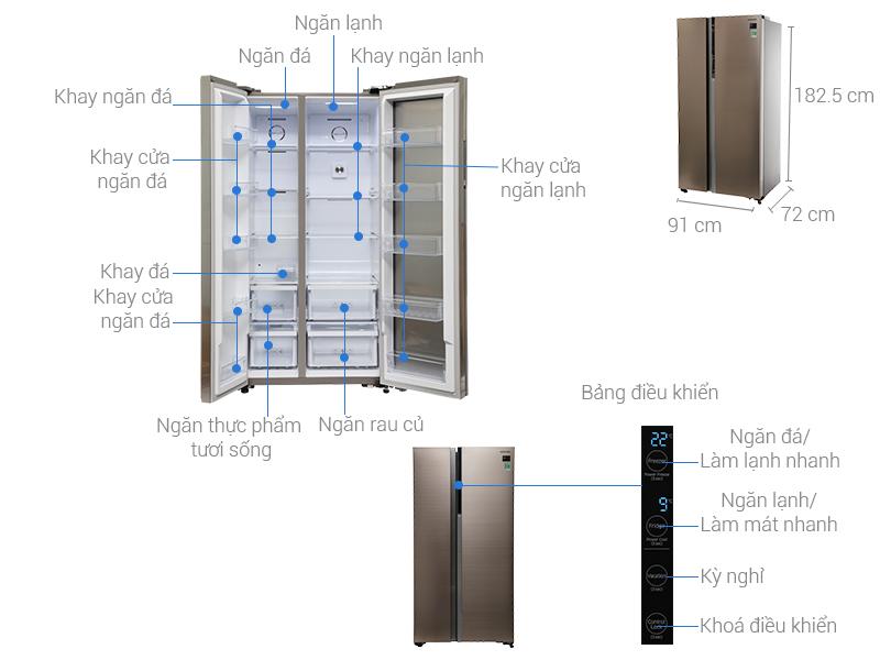 Thông số kỹ thuật Tủ lạnh Samsung Inverter 620 lít RH62K62377P/SV