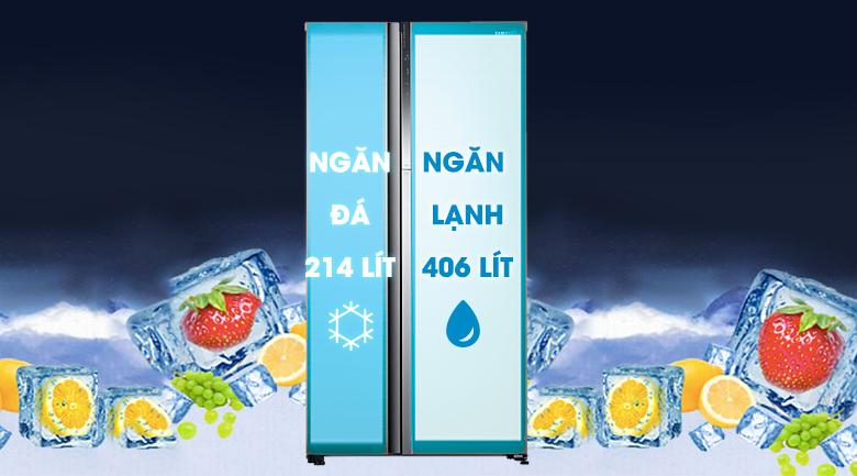 Dung tích 602 lít - Tủ lạnh Samsung Inveter 620 ít RH62K62377P/SV