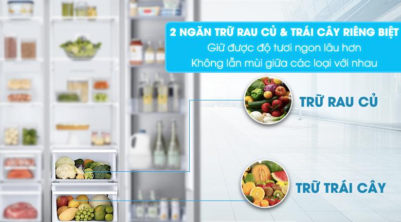 2 ngăn trữ riêng biệt cho rau củ và trái cây - Tủ lạnh Samsung Inveter 620 ít RH62K62377P/SV