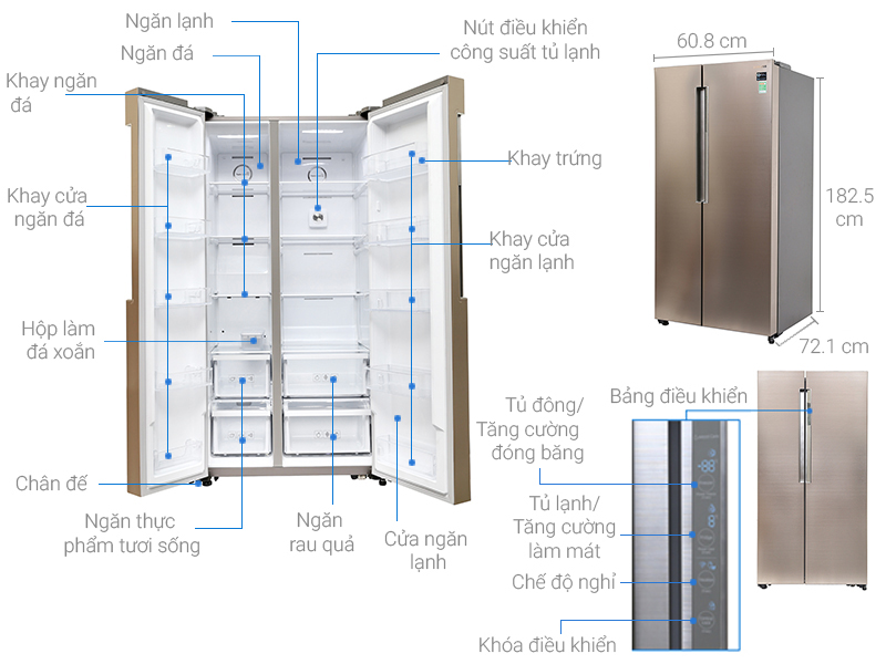 Thông số kỹ thuật Tủ lạnh Samsung inverter 641 lít RS62K62277P/SV