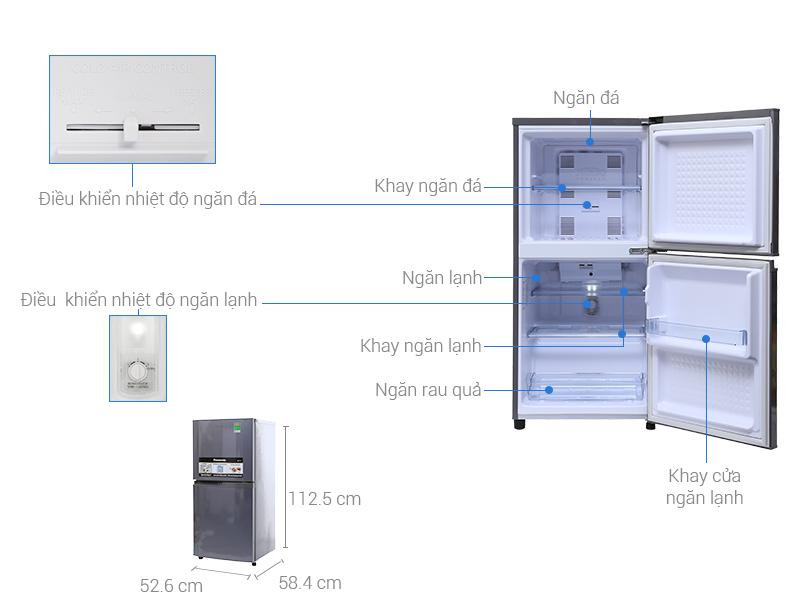 Thông số kỹ thuật Tủ lạnh Panasonic 135 lít NR-BJ158SSV1