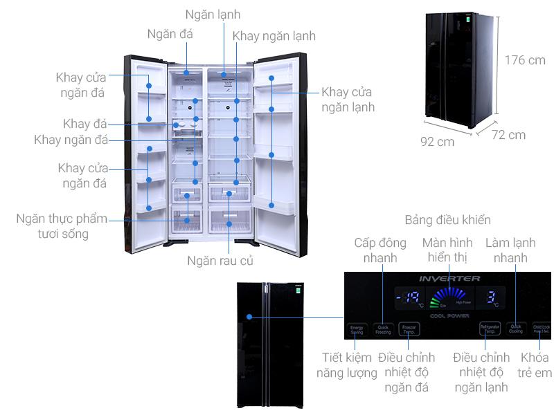 Thông số kỹ thuật Tủ lạnh Hitachi inverter 605 lít R-S700PGV2 GBK
