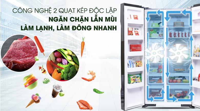 Hệ thống làm lạnh kép - Tủ lạnh Hitachi Inverter 605 lít R-S700PGV2 GBK