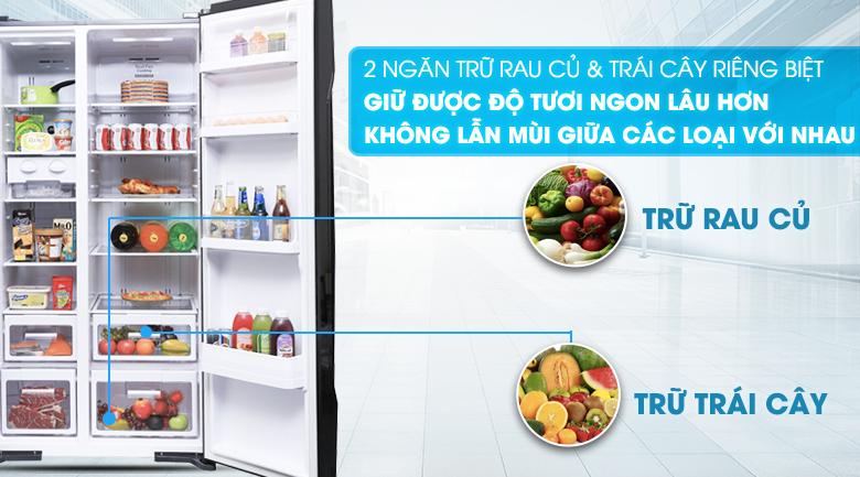 Ngăn chứa rau củ quả giữ ẩm tốt - Tủ lạnh Hitachi Inverter 605 lít R-S700PGV2 GBK