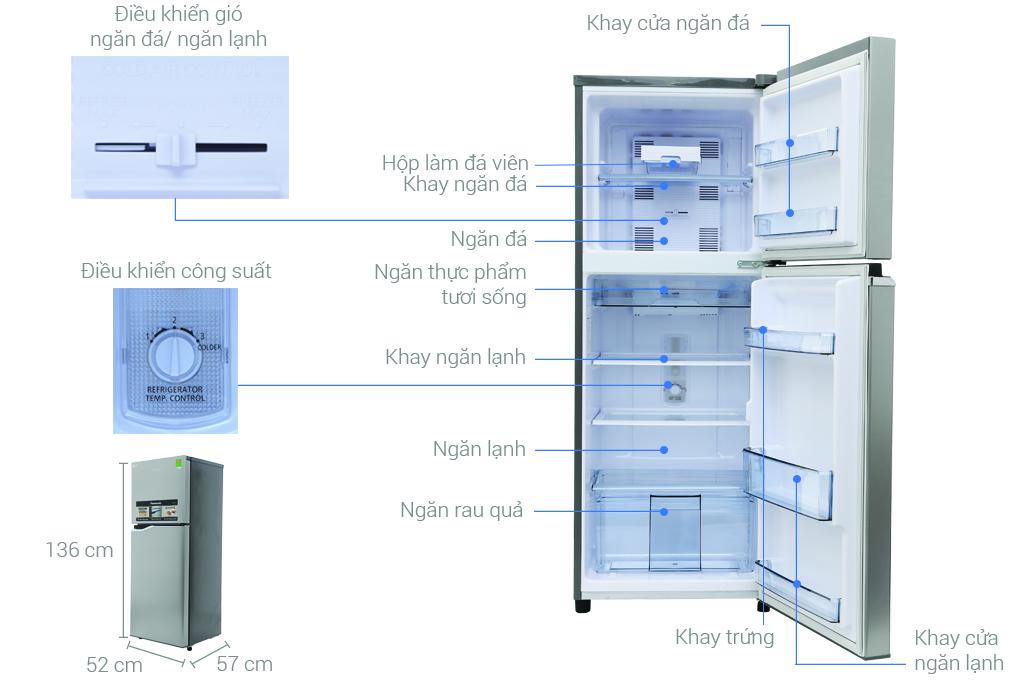 Thông số kỹ thuật Tủ lạnh Panasonic inverter 188 lít NR-BA228PSV1