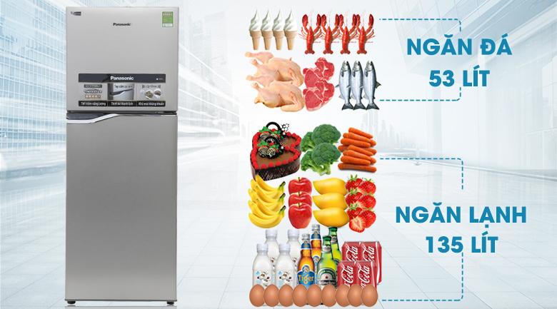 Dung tích 188 lít - Tủ lạnh Panasonic Inverter 188 lít NR-BA228PSV1