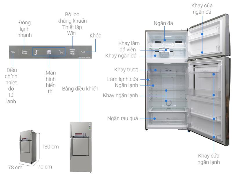 Thông số kỹ thuật Tủ lạnh LG Inverter 512 lít GN-L702SD