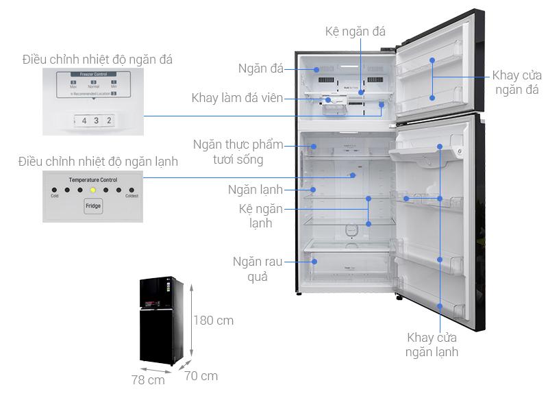 Thông số kỹ thuật Tủ lạnh LG Inverter 506 lít GN-L702GB