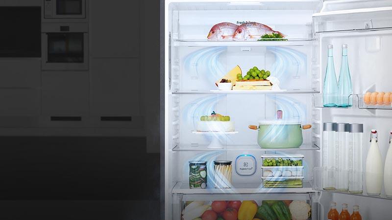 Hệ thống khí lạnh đa chiều giúp làm lạnh toàn bộ thực phẩm