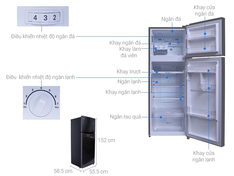 Thông số kỹ thuật Tủ lạnh LG Inverter 208 lít GN-L208PS