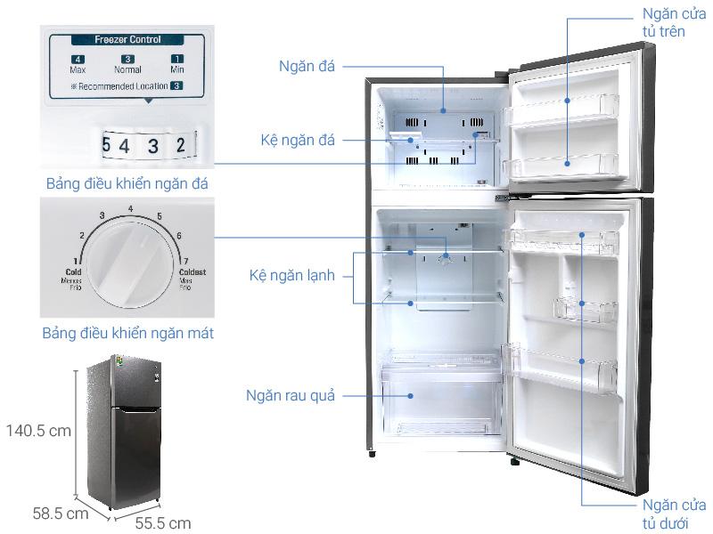 Thông số kỹ thuật Tủ lạnh LG Inverter 187 lít GN-L205S
