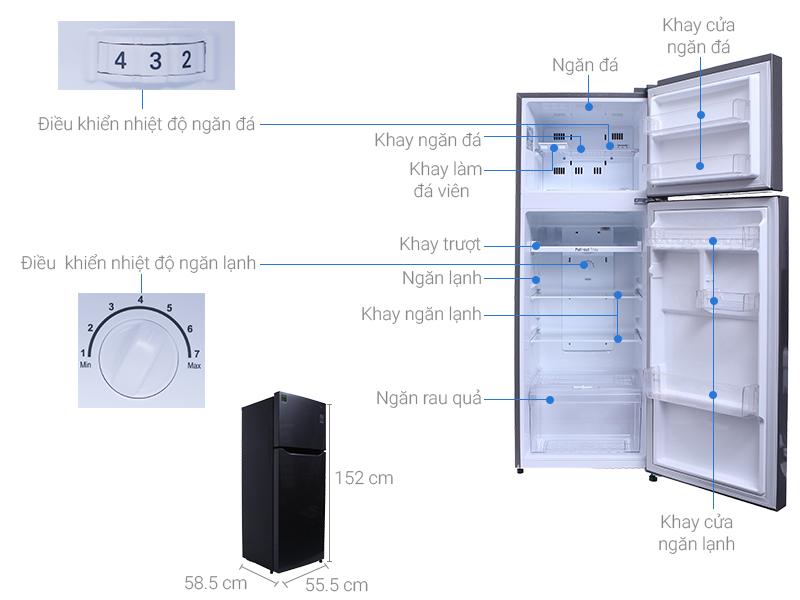 Thông số kỹ thuật Tủ lạnh LG Inverter 209 lít GN-L225S