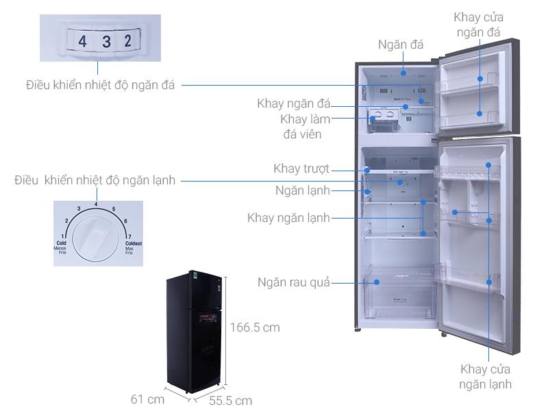 Thông số kỹ thuật Tủ lạnh LG Inverter 255 lít GN-L255PS