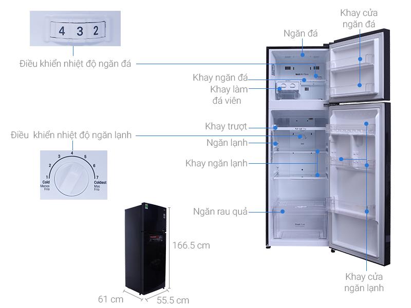 Thông số kỹ thuật Tủ lạnh LG Inverter 255 lít GN-L255PN