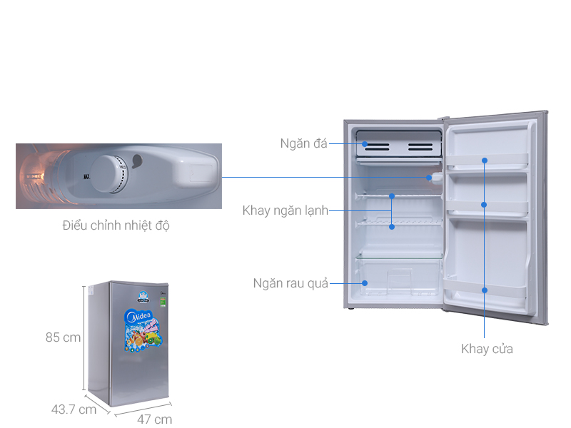 Thông số kỹ thuật Tủ lạnh Midea 93 lít HS-122SN