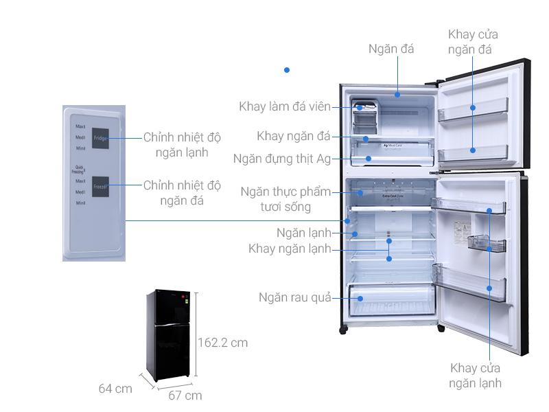 Thông số kỹ thuật Tủ lạnh Panasonic Inverter 363 lít NR-BD418GKVN