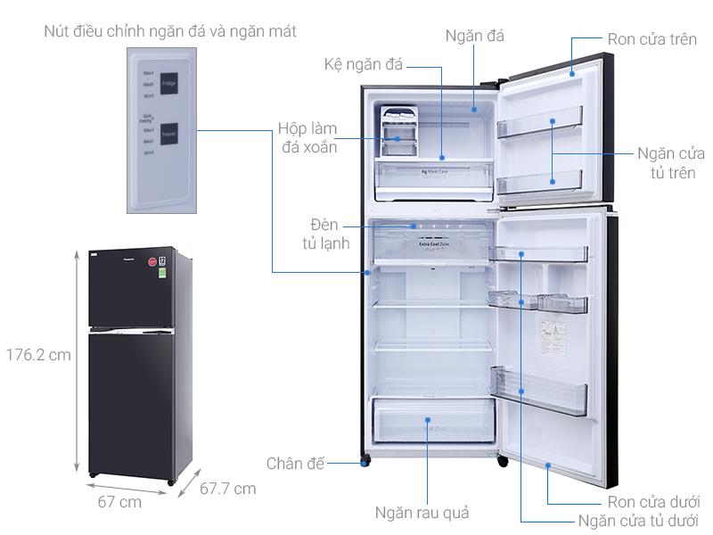 Thông số kỹ thuật Tủ lạnh Panasonic inverter 405 lít NR-BD468GKVN