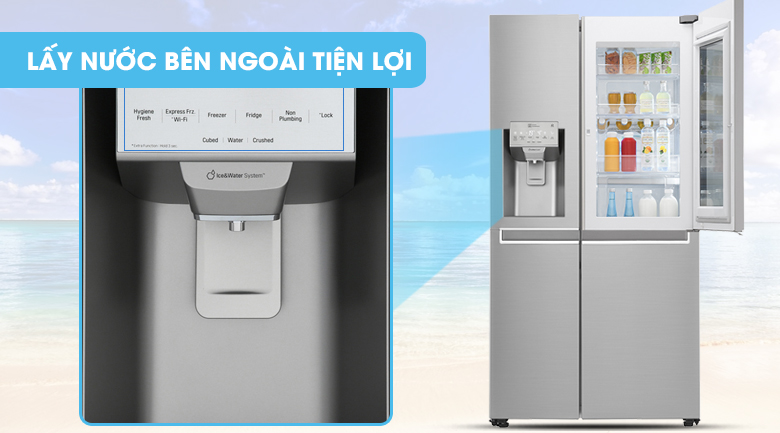 Lấy nước, lấy đá bên ngoài tiện lợi -  Tủ lạnh LG Inverter InstaView Door-in-Door 601 lít GR-X247JS