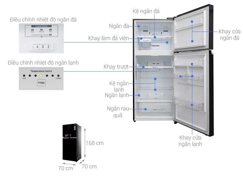 Thông số kỹ thuật Tủ lạnh LG Inverter 393 lít GN-L422GB