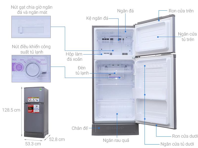 Thông số kỹ thuật Tủ lạnh Sharp 165 lít SJ-16VF3-CMS