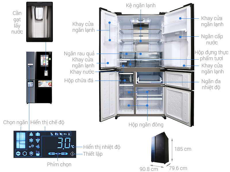 Thông số kỹ thuật Tủ lạnh Sharp Inverter 665 lít SJ-F5X75VGW-BK