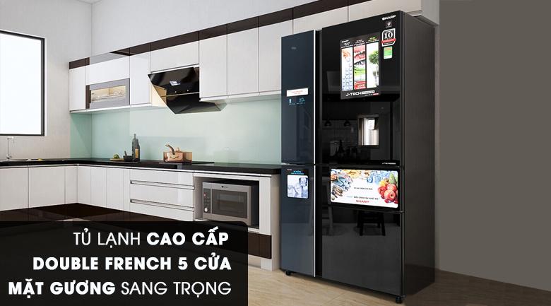 Thiết kế hiện đại - Tủ lạnh Sharp Inverter 665 lít SJ-F5X75VGW-BK
