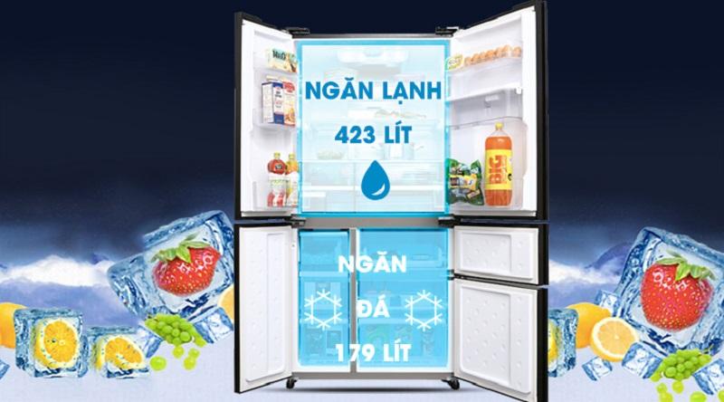 Dung tích lưu trữ lớn, thoải mái sử dụng - Tủ lạnh Sharp Inverter 665 lít SJ-F5X75VGW-BK