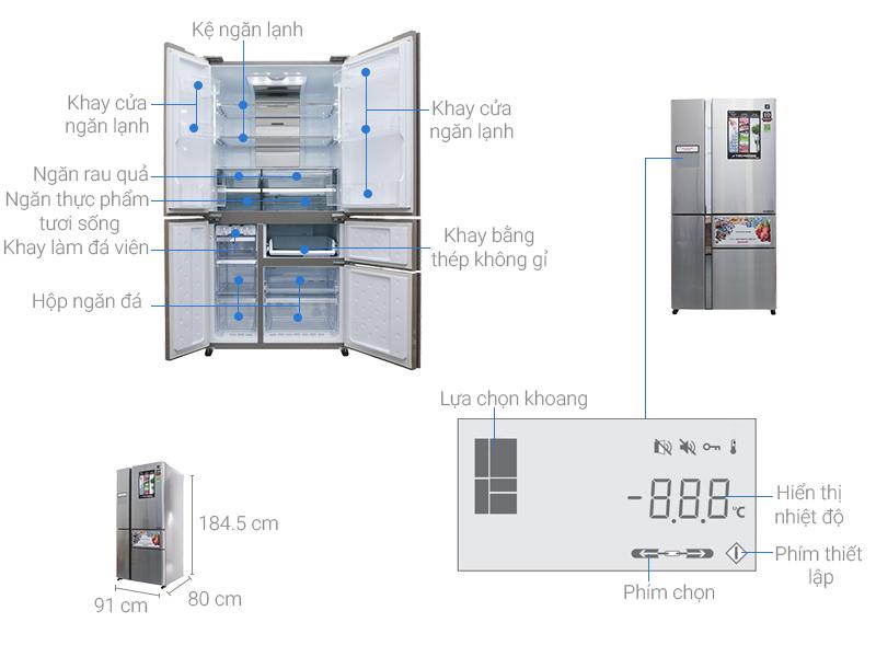Thông số kỹ thuật Tủ lạnh Sharp inverter 758 lít SJ-F5X76VM-SL