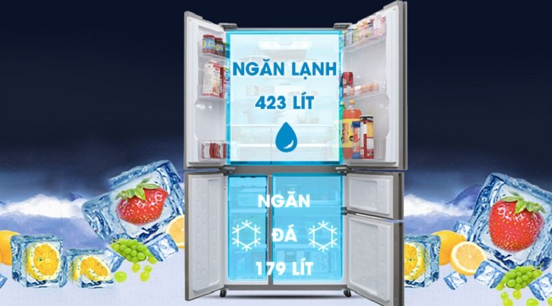 Ngăn chứa rộng rãi, dung tích lưu trữ lớn - Tủ lạnh Sharp Inverter 758 lít SJ-F5X76VM-SL