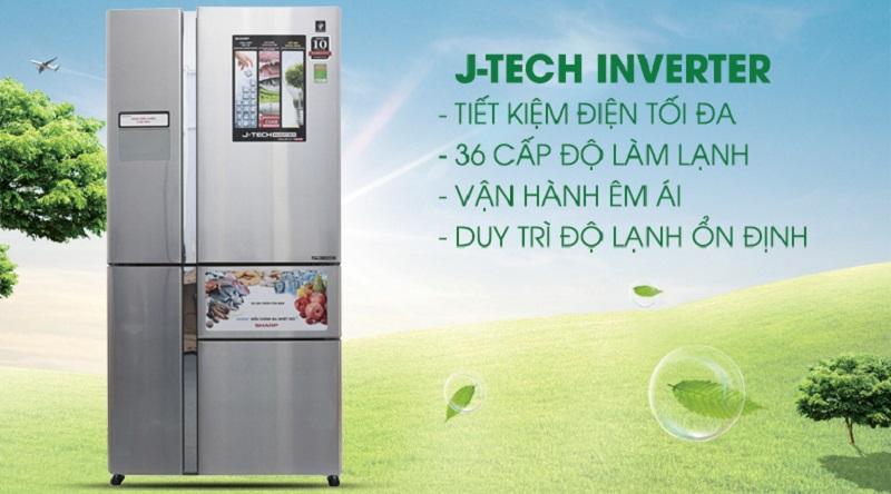 Tiết kiệm năng lượng với công nghệ J-Tech Inverter - Tủ lạnh Sharp Inverter 758 lít SJ-F5X76VM-SL