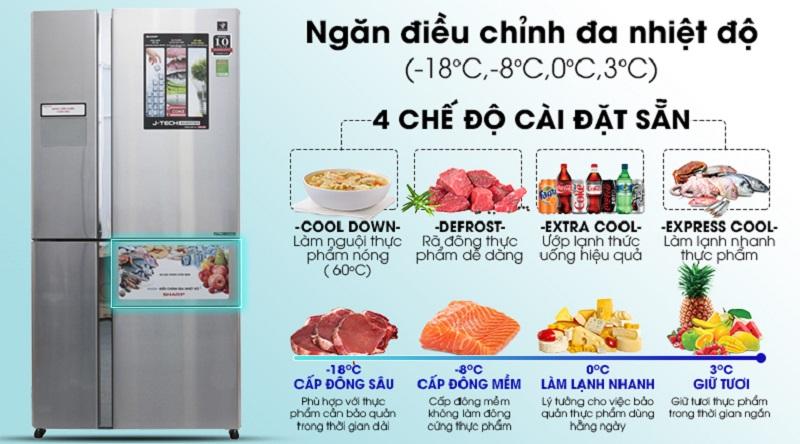 Ngăn điều chỉnh đa nhiệt độ tiện lợi  - Tủ lạnh Sharp Inverter 758 lít SJ-F5X76VM-SL